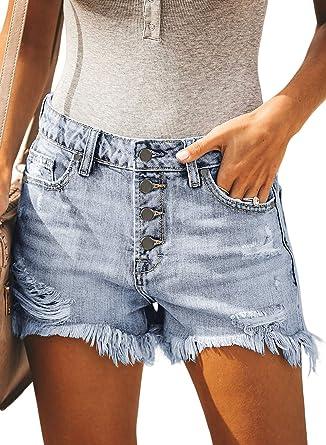 134a5d41afb BLENCOT Women's Light Blue Ladies Ripped Button Down Mid Rise Jean Shorts  Frayed Raw Hem Fashion