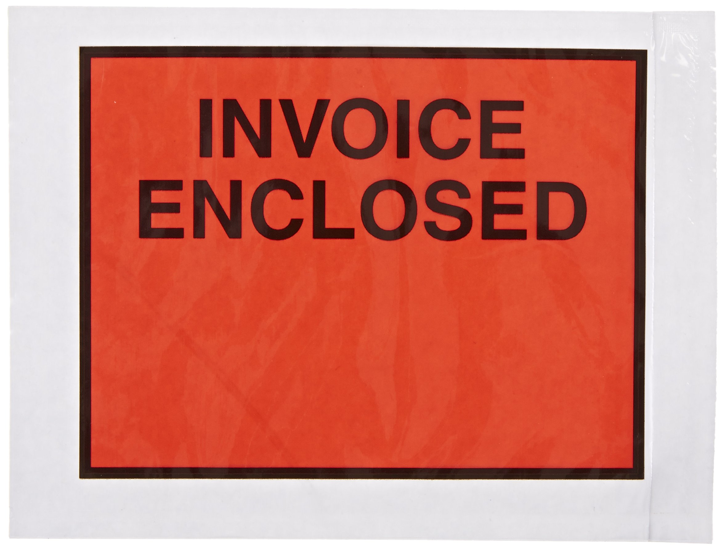 Aviditi PL420 Poly Panel Face Document Envelope, Legend''INVOICE ENCLOSED'', 4-1/2'' Length x 6'' Width, 2 mil Thick, Red/Black on White (Case of 1000) by Aviditi (Image #1)