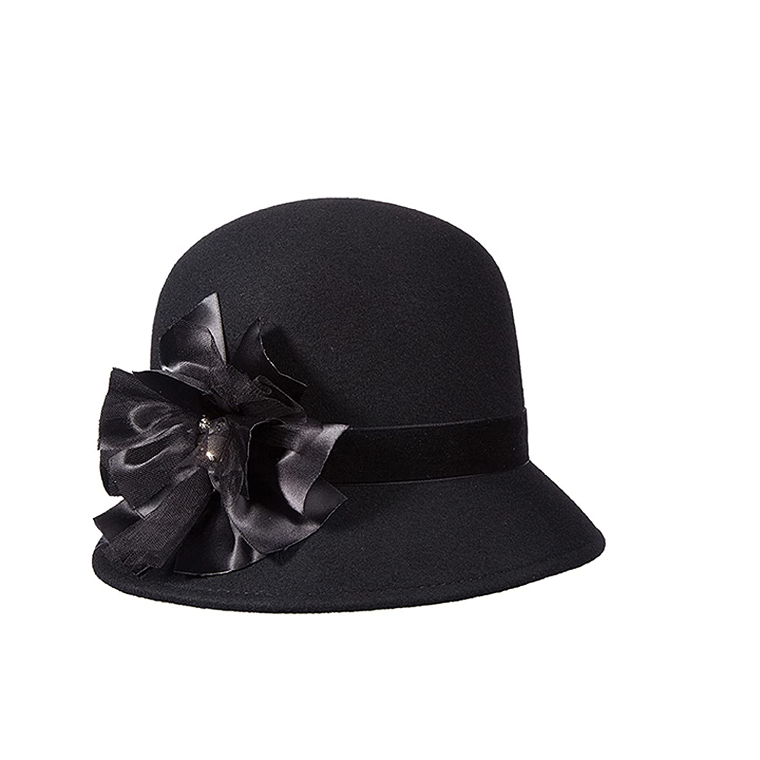 e69d403ca3e Callanan Wool Felt Cloche with Trims Hat (Bow) at Amazon Women s Clothing  store