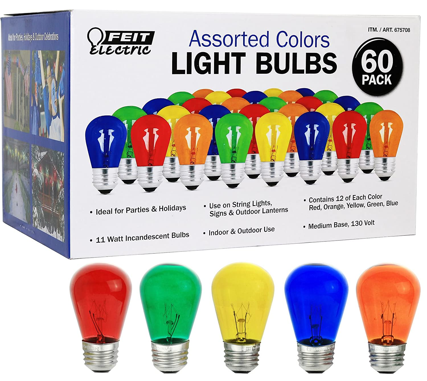 High Quality Feit Electric COMINHKPR92889 Feit Electric Colors Light Bulbs (60 Pack),  Assorted     Amazon.com