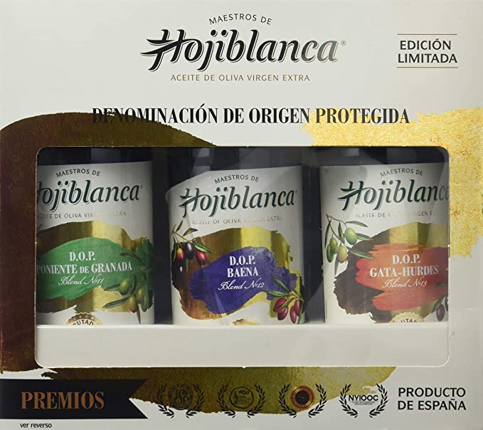 Maestros de Hojiblanca DOP,Pack 3 botellas x 0,5L Vidrio Aceite Virgen Extra