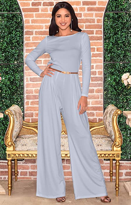 f1ca9c258dcb ... KOH KOH Womens Long Sleeve Wide Leg Belted Formal Elegant Cocktail  Jumpsuit ...