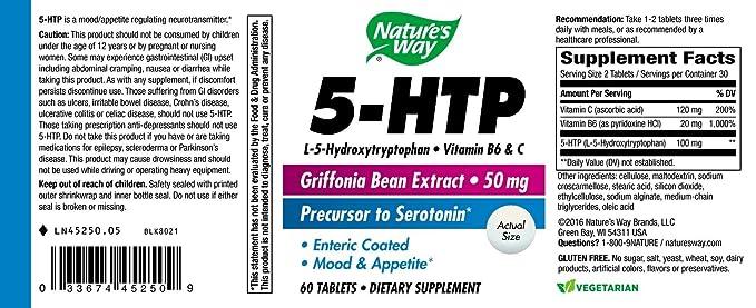 Natures Way - 5-HTP con B-6 y vitamina C (Extracto de la haba de Griffonia Natural) 50 mg. - tabletas de cubierta entérica 60: Amazon.es: Salud y cuidado ...