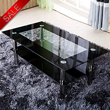 Schindora Modern Tempered Glass Coffee Table Clear Black With