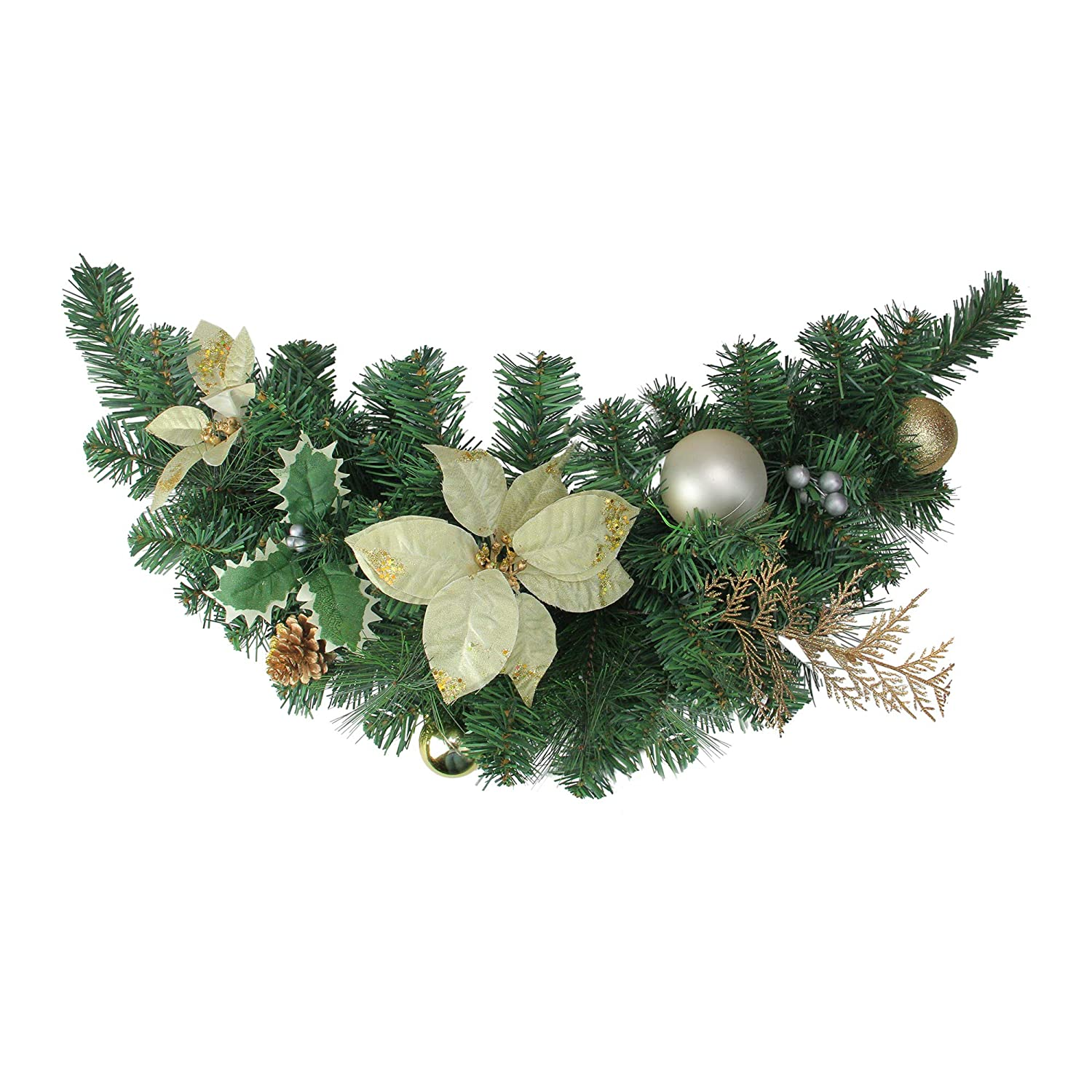 """Unlit Northlight 28/"""" Gold Poinsettia and Pinecone Artificial Christmas Swag"""