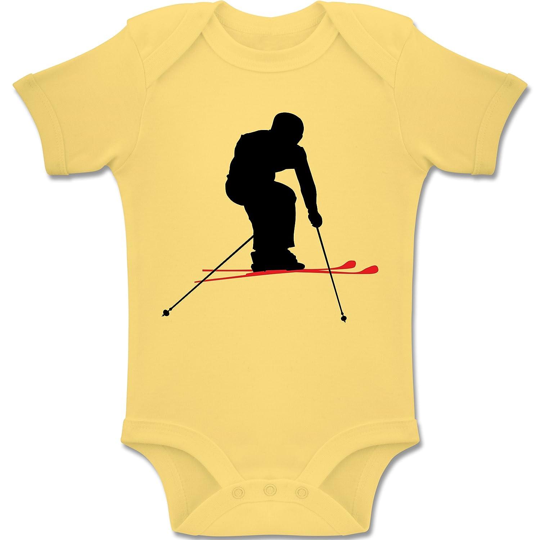 Sport Baby - Skifahren Urlaub - Kurzarm Baby-Strampler / Body für Jungen und Mädchen