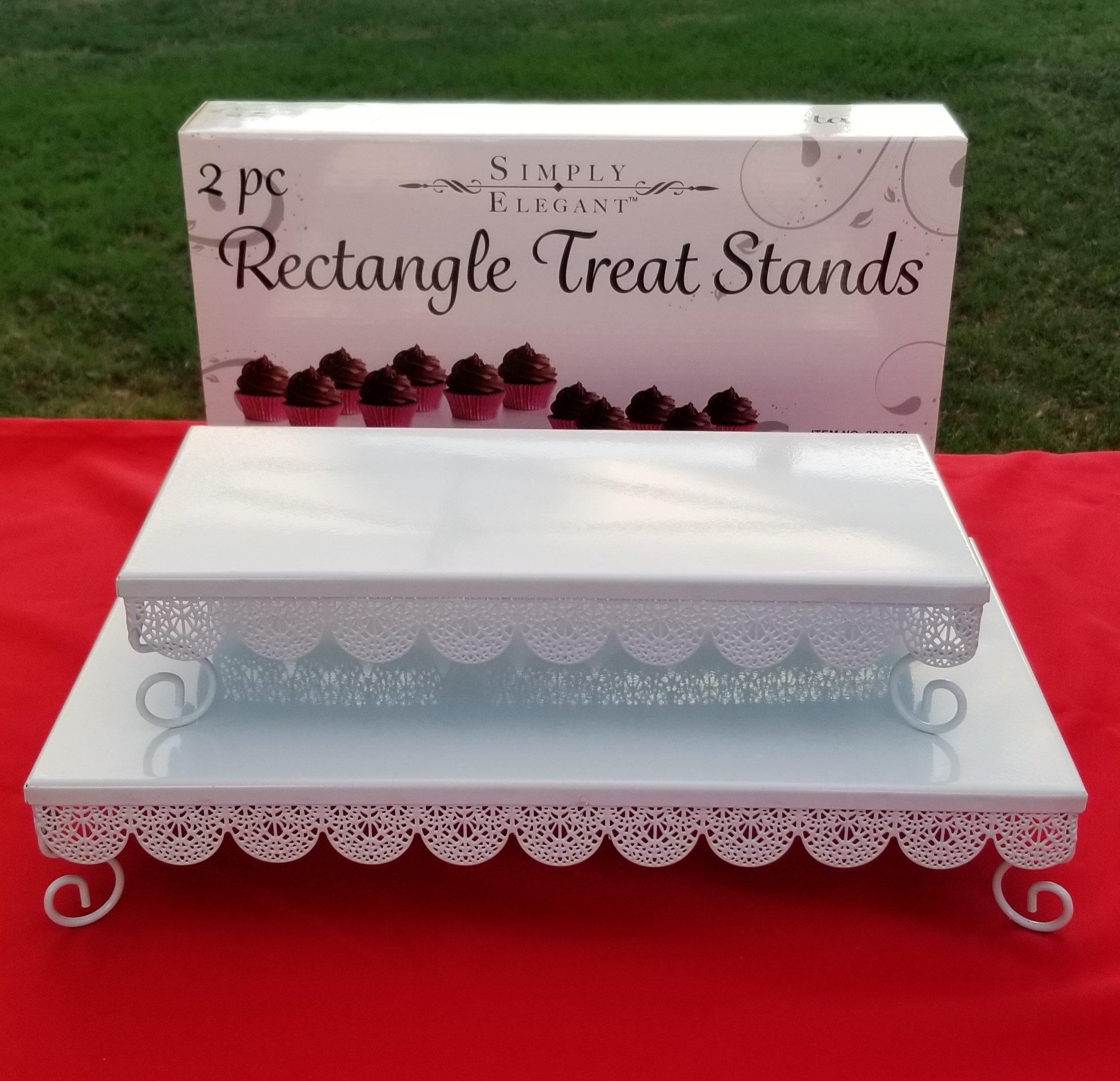 Portofino International Trading USA, Inc. (POR-) Set of 2 White Metal Rectangle Eyelet Cake Stands - 14.5-17.5'' Long