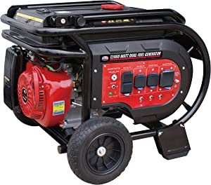 All Power America G12000EGL 12000 Watt Heavy Duty Dual Fuel Portable Generator with Electric Start 12000W Gas/Propane(LPG) with 50A 120/240V AC Outlet, Black/Red