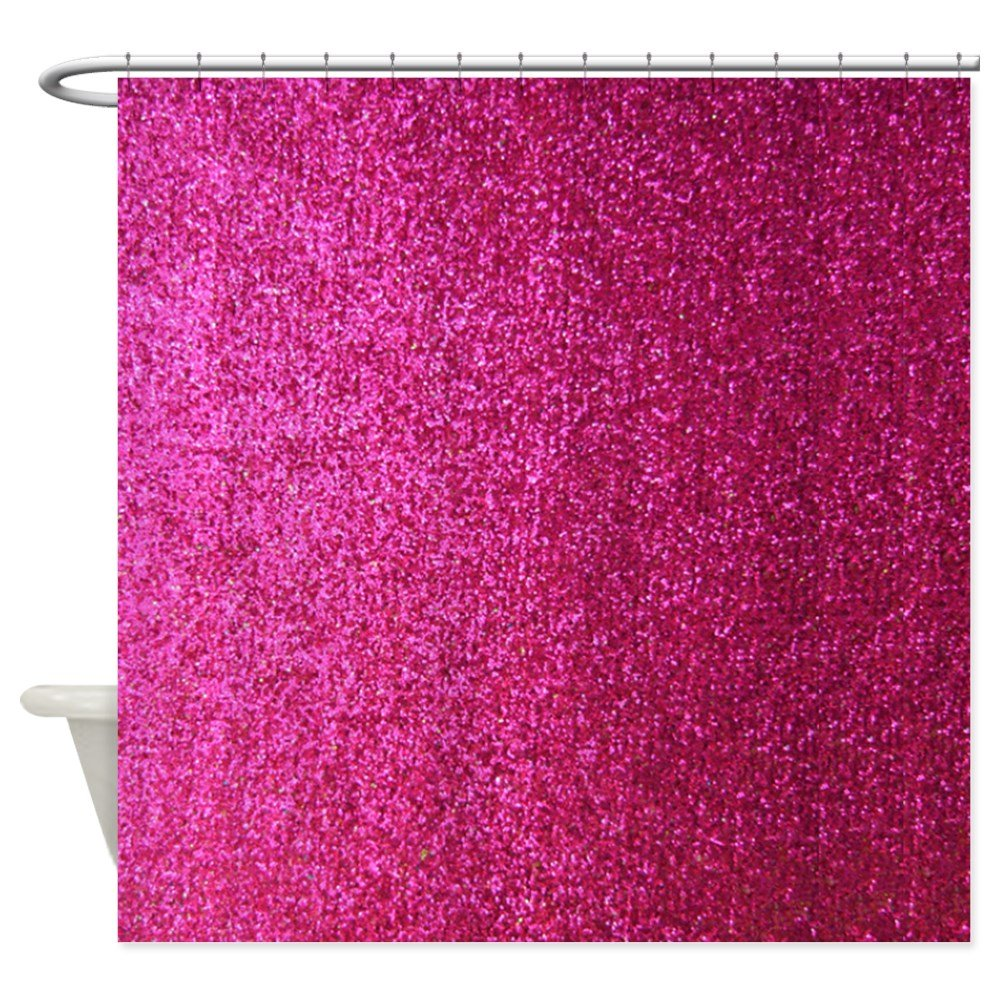 Hot pink curtains - Amazon Com Cafepress Hot Pink Faux Glitter Decorative Fabric Shower Curtain Home Kitchen
