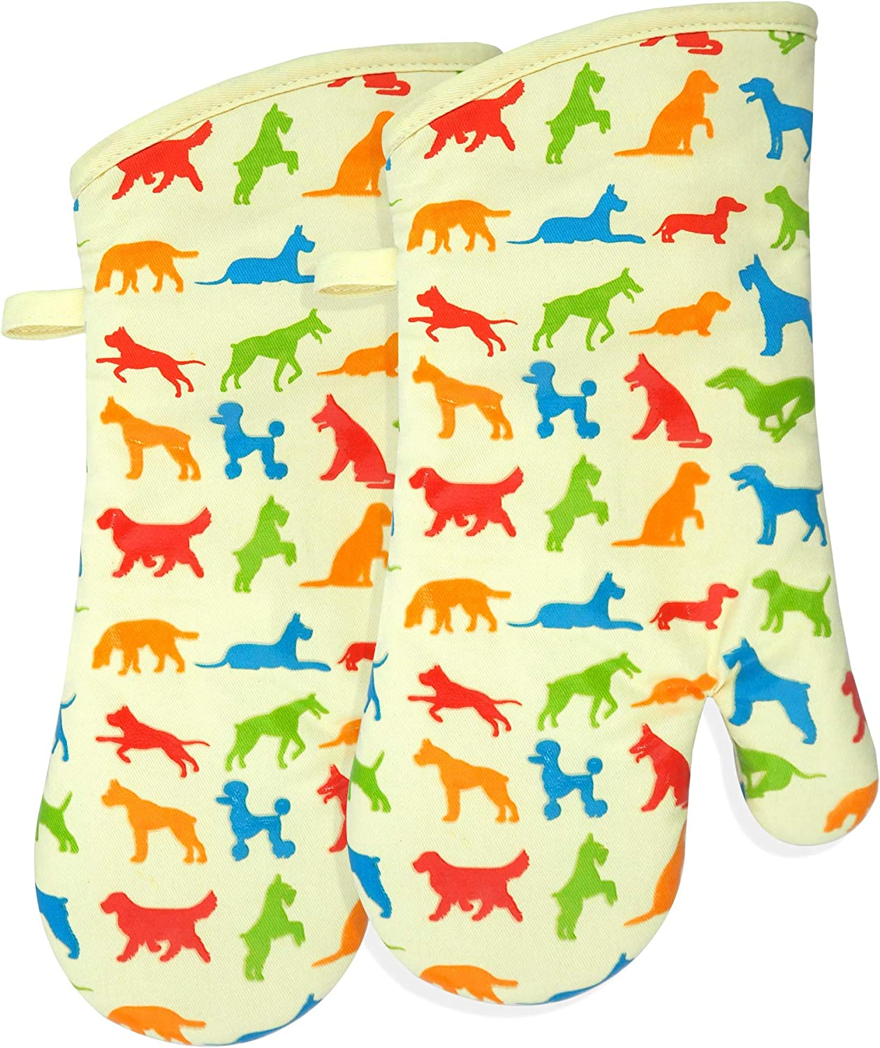 RED LMLDETA Oven Mitts Gloves 1 Pair Heat Resistant 480 ℉ Non Slip Clear Silicone Printed Dog Comfortable Cotton Lining Kitchen Cooking Barbecue BBQ Machine Washable (Dog, Light Yellow Mittens)