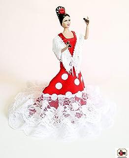 Muñeca 19 cm Andaluza gitana flamenca vestido cola (Blanco ...