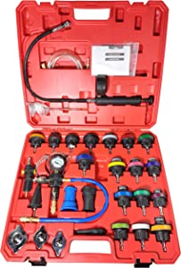 Supercrazy 28pcs Universal Radiator Pressure Tester and Vacuum Type Cooling System Tool Kit SF0338