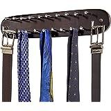 Richards Homewares 21 Closet Tie Rack, Belt Scarf Hanger-Natural Dark Walnut Wood with Chrome Hooks-Multi Accessory Wall Moun