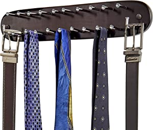 Richards Homewares 21 Closet Tie Rack, Belt Scarf Hanger-Natural Dark Walnut Wood with Chrome Hooks-Multi Accessory Wall Mounted Holder for Storage and Organization
