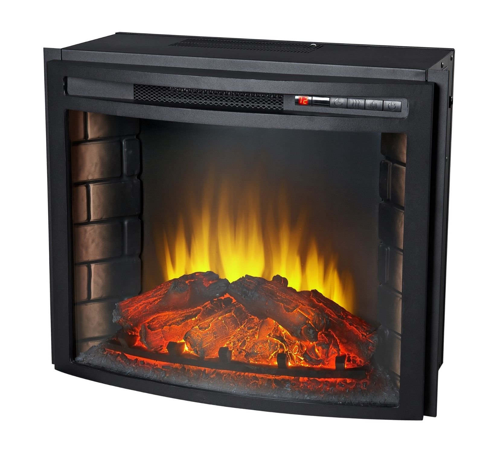 24'' Curved Electric Fireplace Insert - Firebox with Heater chimney Vent free + FREE E-Book