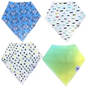 Baby Bandana Drool Bibs for Drooling - Teething by BG Mini 4 Pack Absorbent Organic Cotton Gift Set for Boys