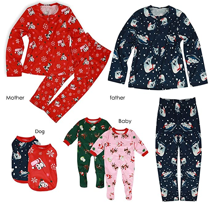 Family Christmas Pajamas With Dog.Ant Kinds Mom Dad Baby Dogs Family Matching Christmas Pajamas Shirt Pants Homewear Set