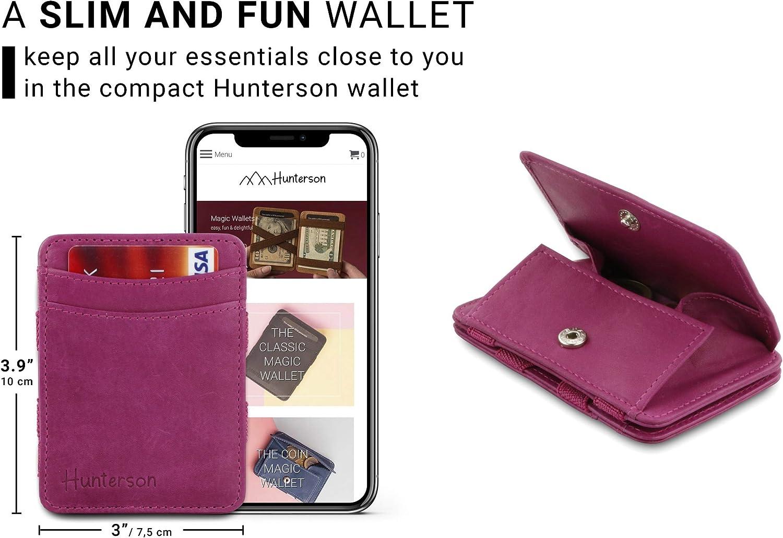 Flacher Minimalistischer magischer M/ünzgeldbeutel von Hunterson aus echtem Leder mit RFID-Blocker