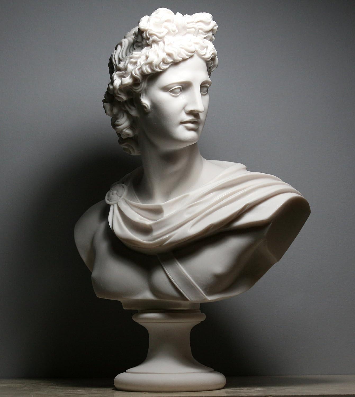 Apollo Dio greco, romano busto testa statua alabastro scultura Handmade 12.6΄ ΄