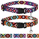 CollarDirect Aztec Cat Collar Breakaway Pack of 2 PCS Nylon Tribal Pattern Geometric Pet Kitten Collars for Cats (Tribal Magenta + Aztec Sunset)