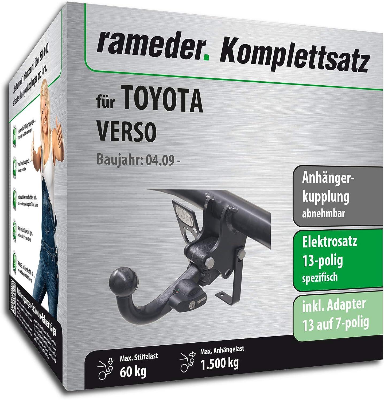 Rameder Komplettsatz Anh/ängerkupplung abnehmbar 13pol Elektrik f/ür Toyota Verso 117571-08158-1