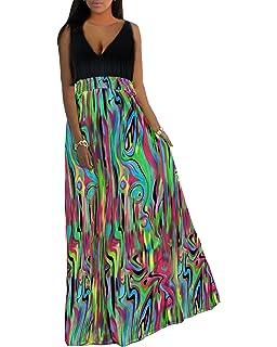 a0d0c0ab22b Aofur Womens Boho V Neck Summer Casual Evening Cocktail Party Beach Long  Maxi Dress Plus Size