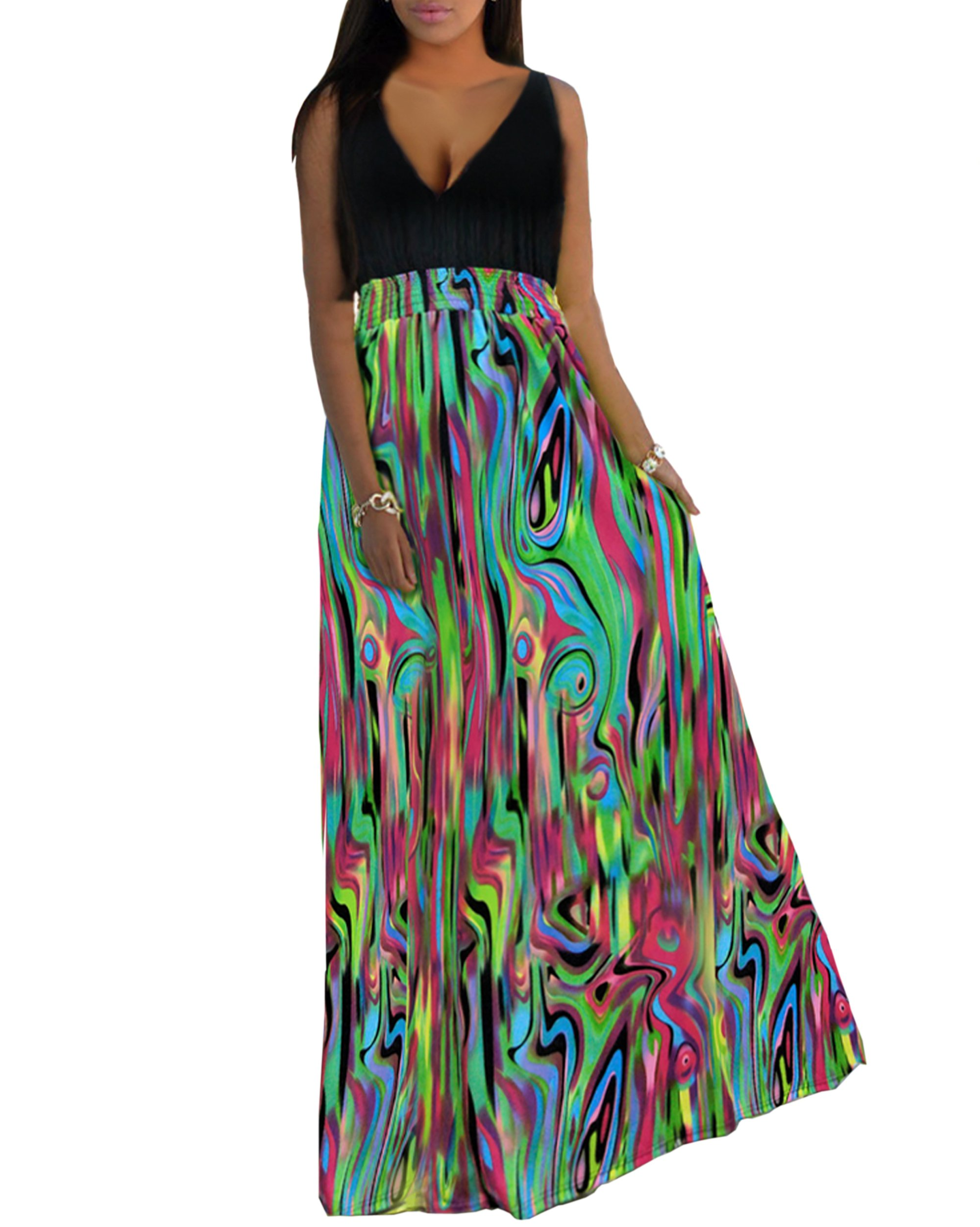 Aofur Fashion Women's Sexy V Neck Casual Beach Club Maxi Dresses Summer Long Party Dress (XX-Large, Green)