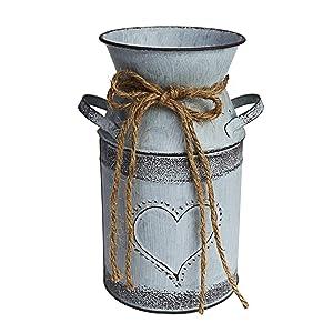 MISIXILE Rustic Metal Flower Vase, Shabby Chic Vintage Farmhouse Jug Vase, Galvanized Milk Can Holder for Home Decor