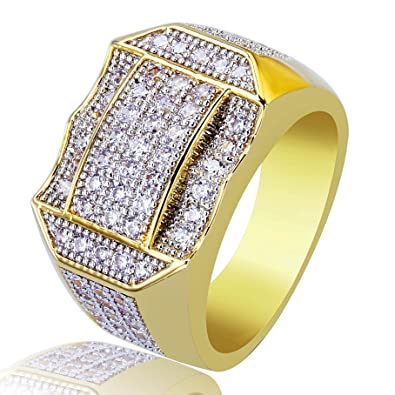 56844d6a625a3 TOPGRILLZ Mens 14K Gold Plated Cluster Iced Out Simulated Diamond Bling Hip  Hop Pinky Ring