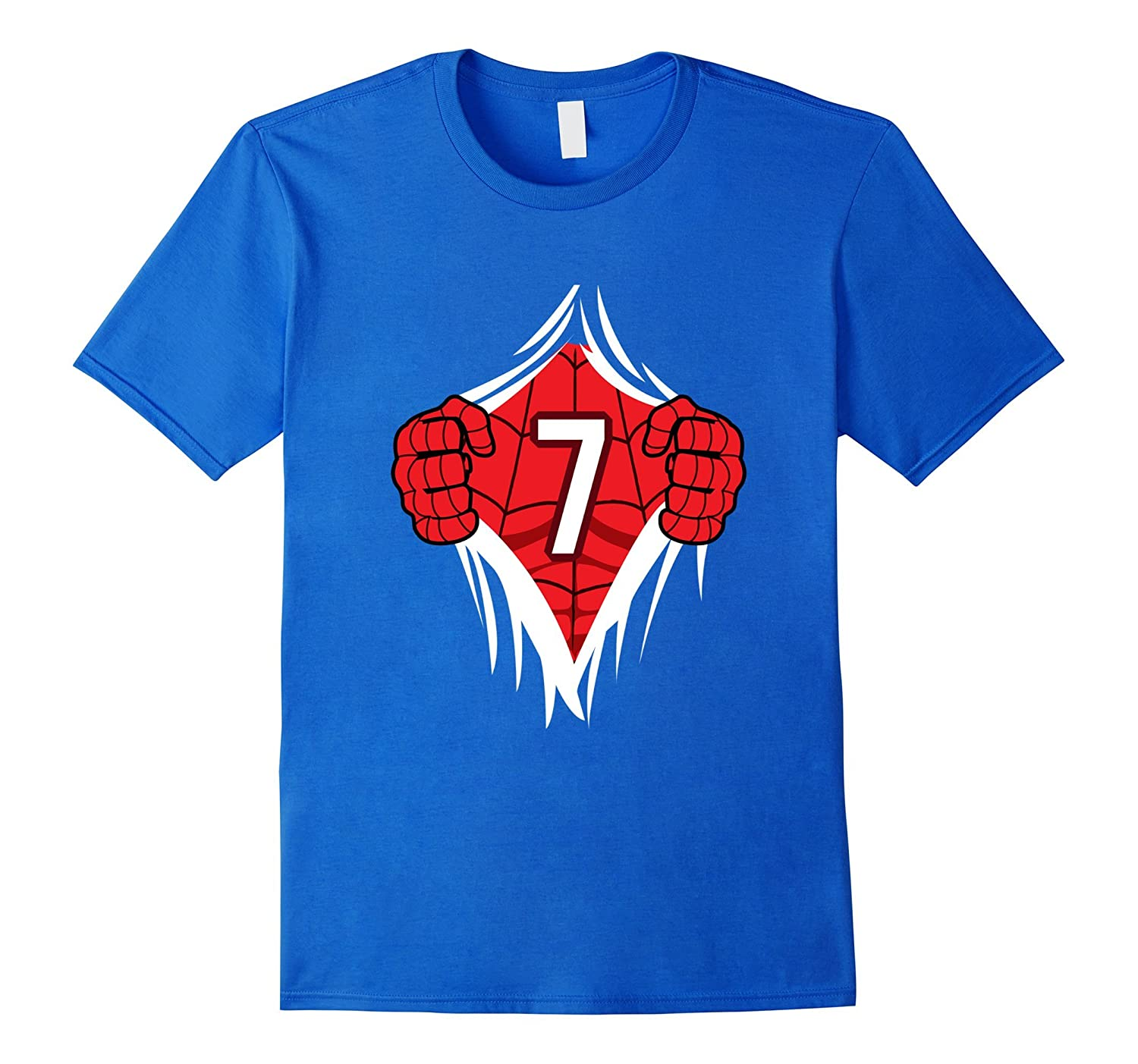 Superhero Birthday Shirt 7 Year Old Tshirt Girls Boys Comic CL