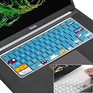 [2 Pack] Keyboard Cover Skin Compatible Acer Chromebook R11 11.6 Inch Cb3-131 Cb3-132,Cb5-132T,Cb3-131,Chromebook R13 Keyboard Cover,Cb5-312T,Chromebook 15,Cb3-531 Cb3-532 Cb5-571 C910,Cat Paw+Clear