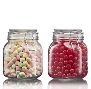 Klikel Square Glass Kitchen Storage Canister Jars - Crystal Clear Food Storage Jars with Clear Lid and Bail & Trigger Hermetic Seal - 25oz, (Set of 2)