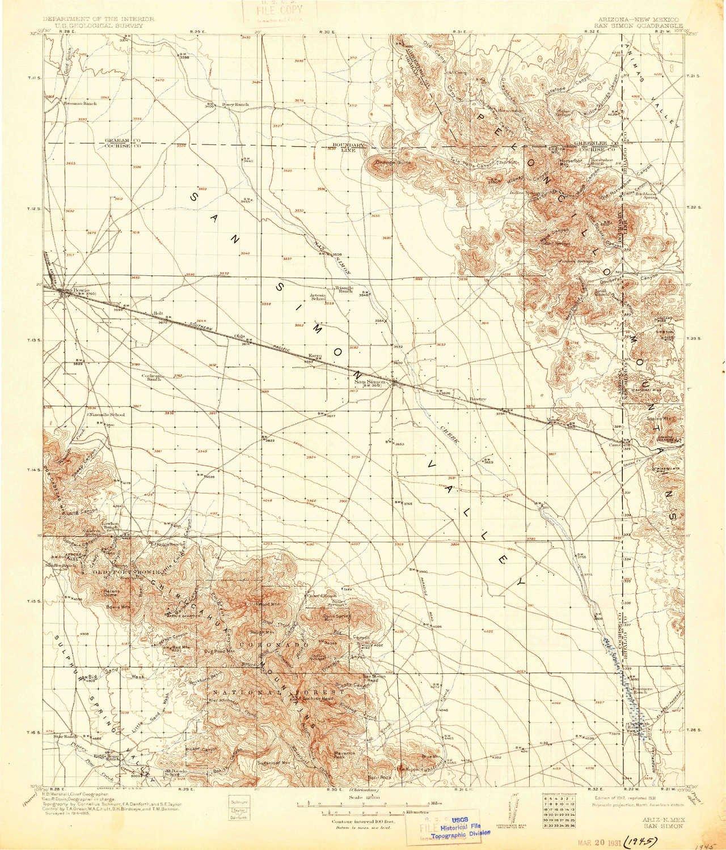 Az Topographic Map.Amazon Com Yellowmaps San Simon Az Topo Map 1 125000 Scale 30 X