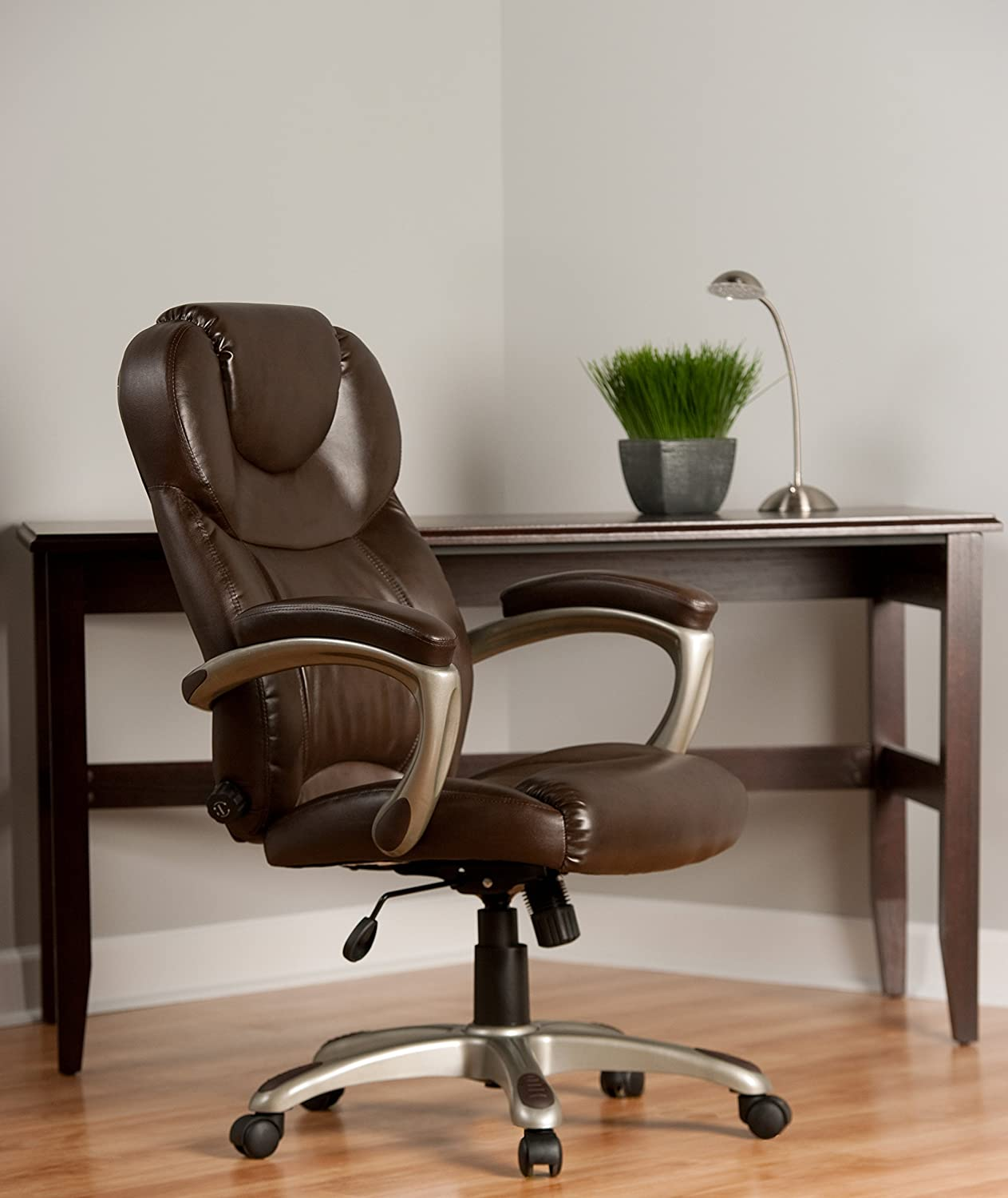 comfortable computer chairs. Amazon.com: Comfort Products Granton Leather Executive Chair With Adjustable Lumbar Support, Brown: Kitchen \u0026 Dining Comfortable Computer Chairs