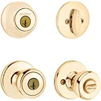 Kwikset 690 Tylo Entry Knob and Single Cylinder Deadbolt Combo Pack featuring SmartKey® in Polished Brass