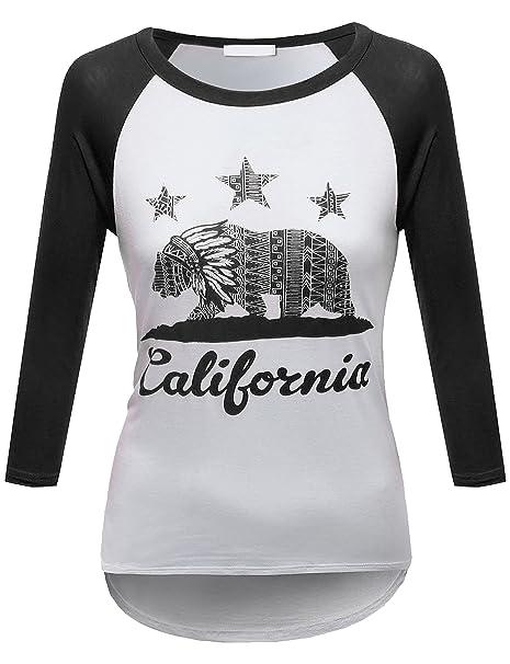 51b9bc010 BEKTOME Womens Classic 3/4 Sleeve Baseball Raglan Graphic Tee Shirt-S-BLACK