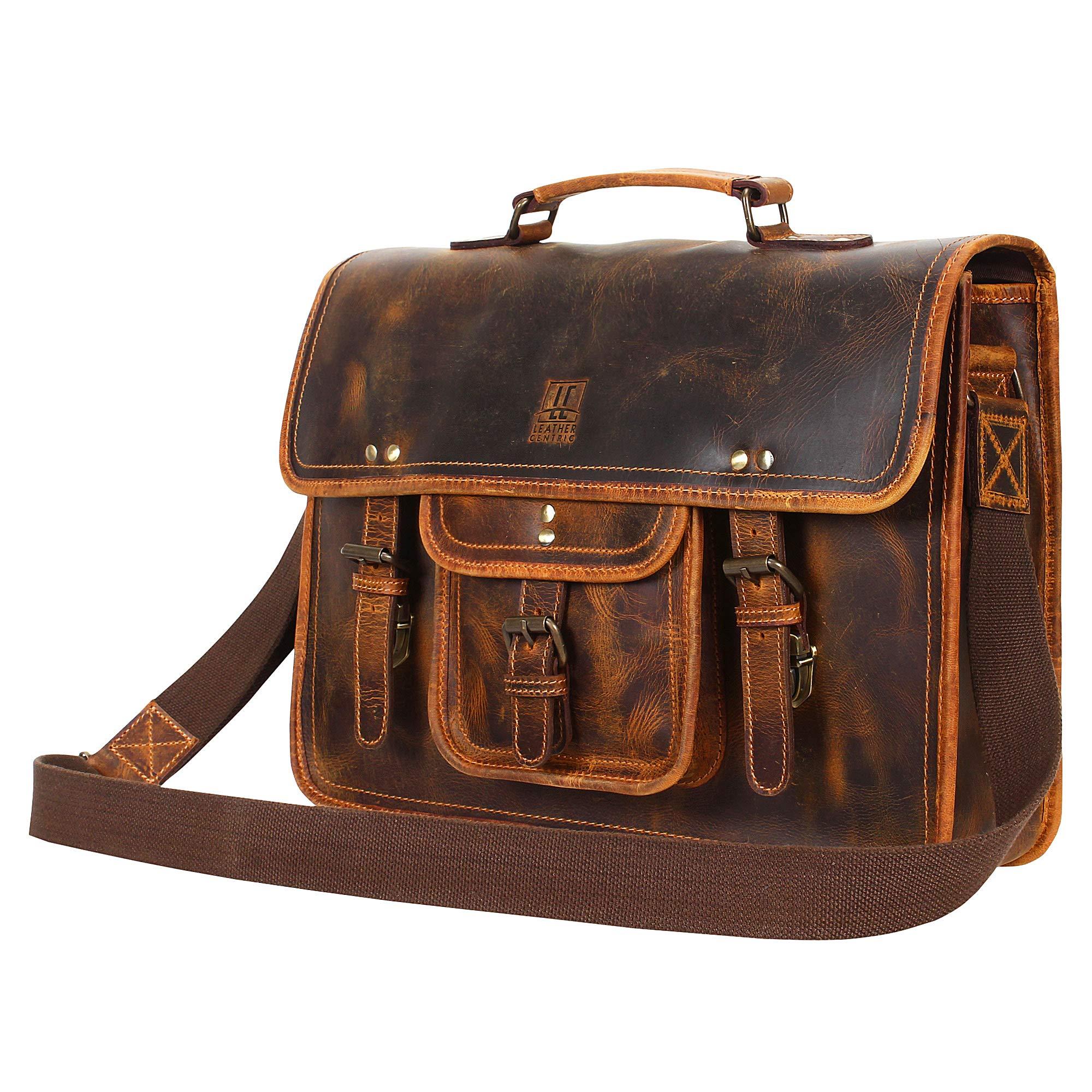 Leather Centric Office Laptop Briefcase Satchel Bag