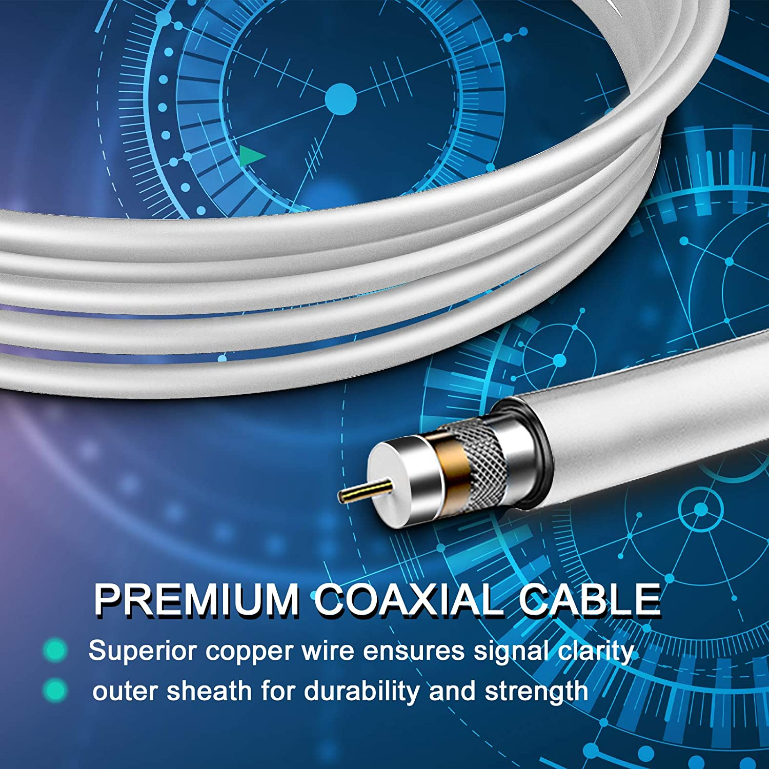 18 Ft Premium Coaxial Cable 2020 Latest TV Antenna VHF UHF Freeview Channels Antenna with Amplifier Signal Booster 150 Miles Range Digital Antenna for HDTV HDTV Antenna Support 4K 1080P