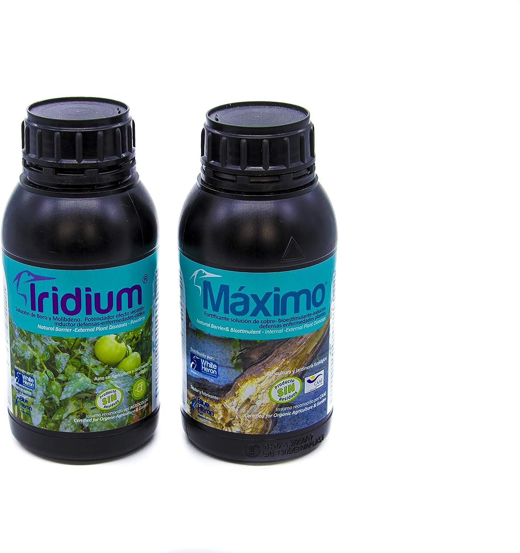 Pack Maximo®+Iridium® (1.200 m2); Perfil Fungicida Bioestimulante bioracional-Mildiu/Hongos/Oidios/Enfermedades Internas-externas Plantas