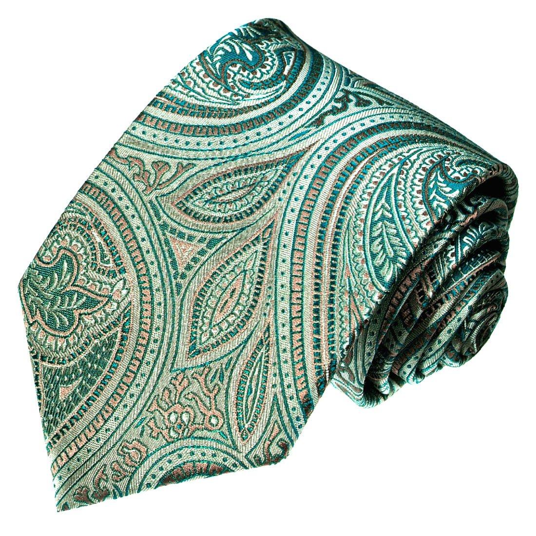 LORENZO CANA Italian 100/% Silk Tie Turquoise Lightgreen Green Paisley Silver 36090