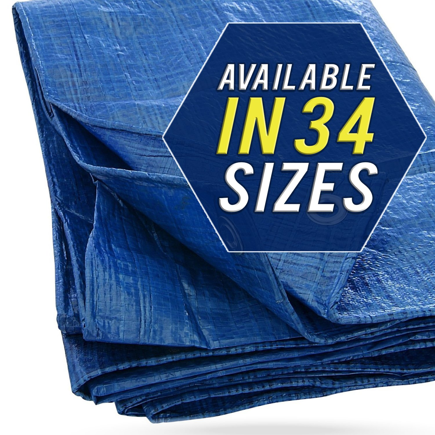 30X50 Blue Tarp Tarpaulin Canopy Tent, Boat. RV or Pool Cover by Trademark Supplies