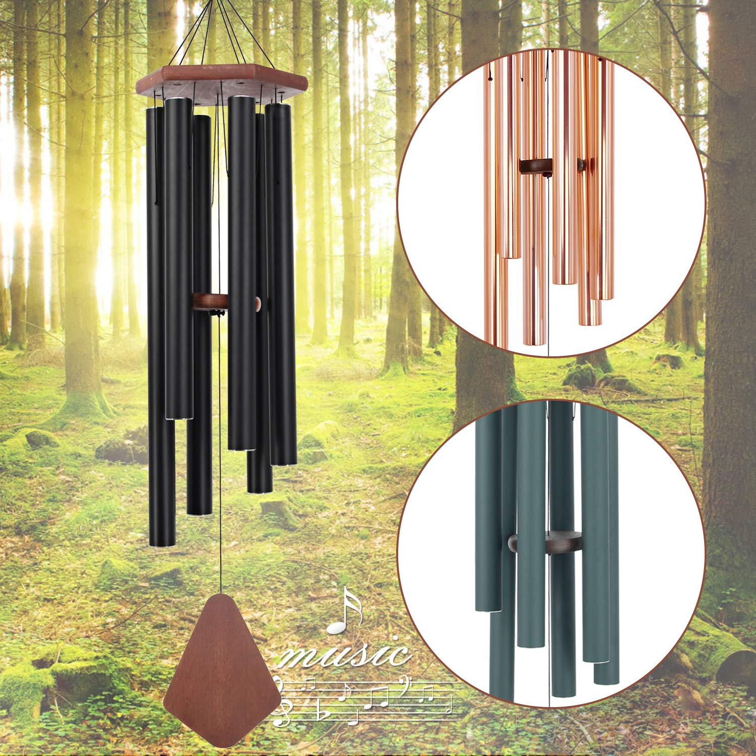 Wind Chimes Outdoor Large Deep Tone, 44 Inch Sympathy Wind Chime Amazing Grace Outdoor, Memorial Wind-Chime with 6 Tuned Tubes, Elegant Chime for Garden, Patio, Balcony and Home Decor, Matte Black by Astarin (Image #1)