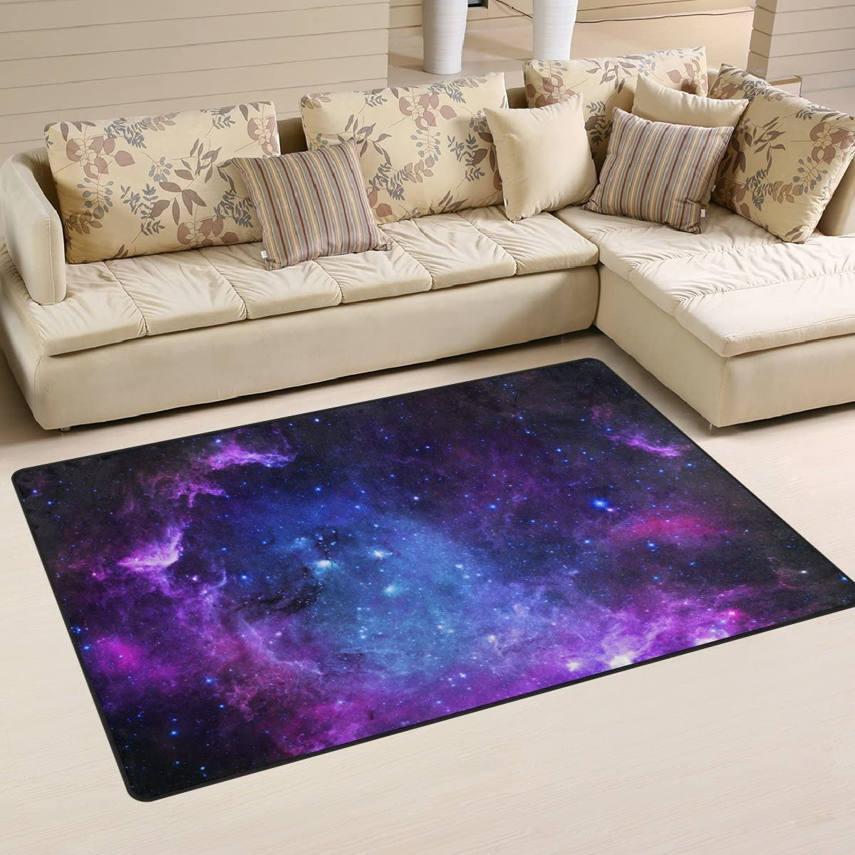 Yochoice Non-slip Area Rugs Home Decor, Vintage Beautiful Spiral Purple Galaxy Space Floor Mat Living Room Bedroom Carpets Doormats 60 x 39 inches