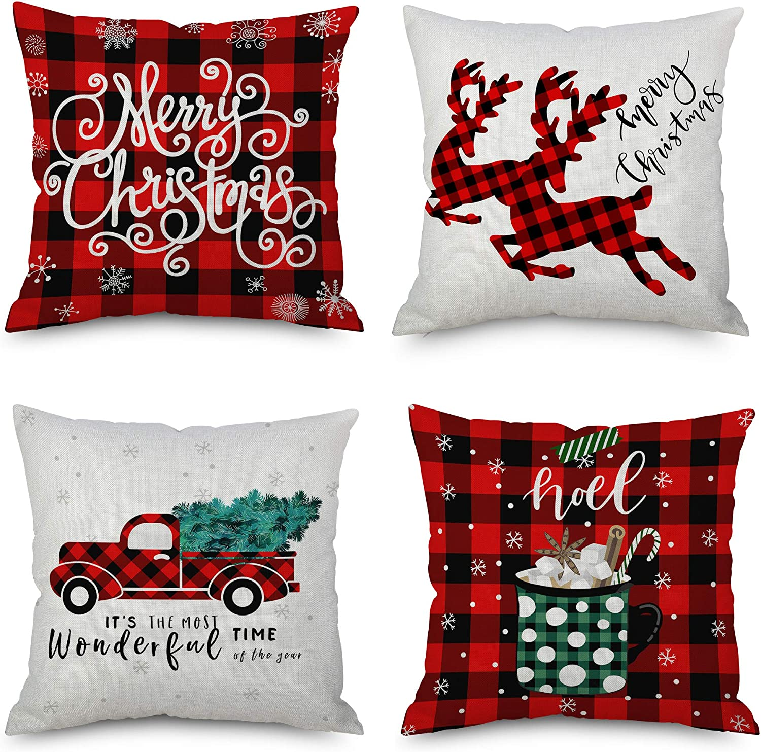 QoGoer Christmas Decorations Throw Pillow Covers 18 x 18 Inch Set of 4, Red Black Buffalo Plaids Merry Christmas Pillow Cases Cotton Linen Cushion Covers for Farmhouse, Xmas Home Decor, Bed and Couch