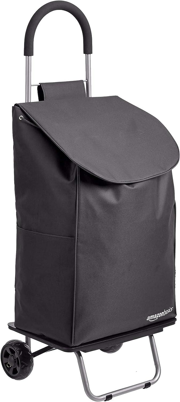 Amazon Basics Folding Shopping Cart Converts into Dolly, 40 inch Handle Height, Black