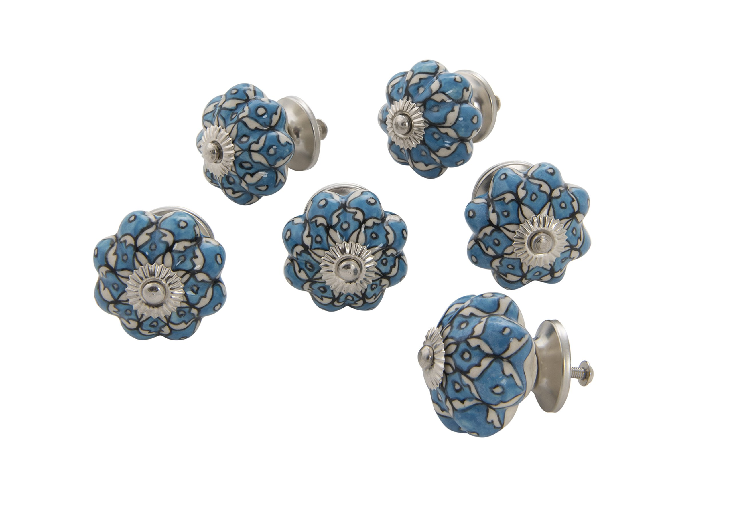 Dritz Home 47047A Ceramic Persian Floral Scallop Knob Handcrafted Knobs for Cabinets & Drawers