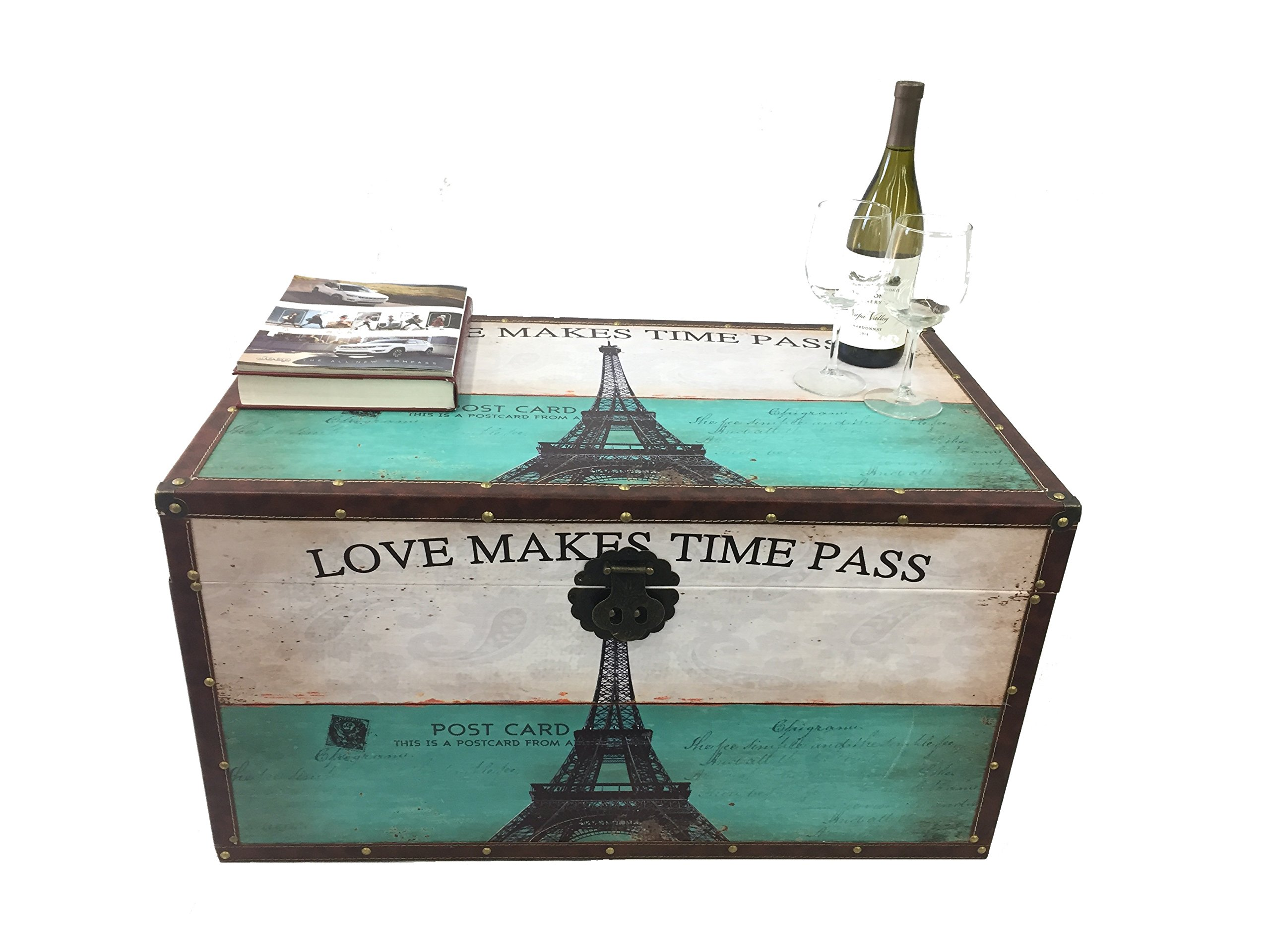 Styled Shopping Paris Post Card Steamer Trunk Wood Storage Wooden Treasure Chest - Medium Trunk