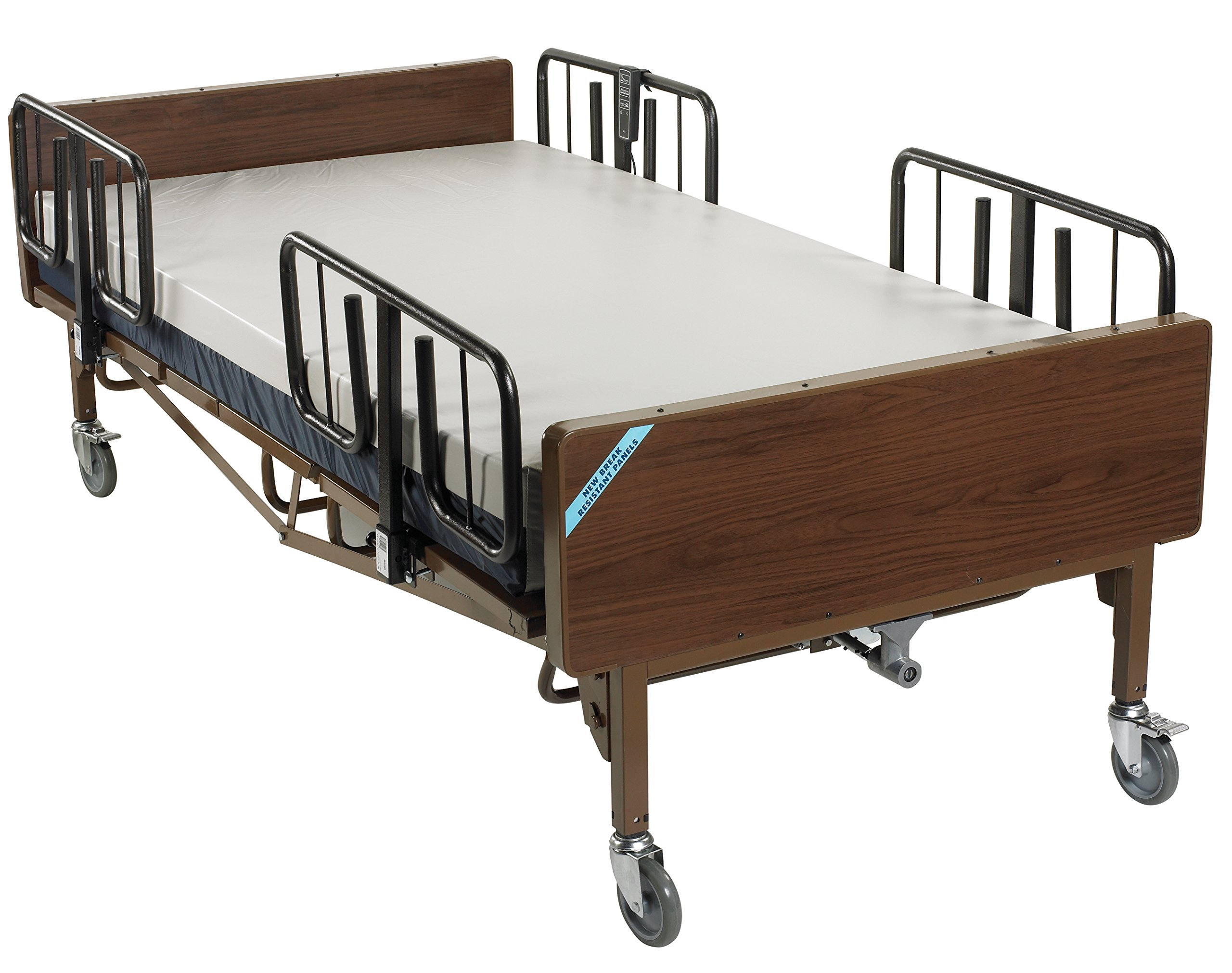 Drive Medical 15302BV-PKG Full Electric Heavy Duty Bariatric Hospital Bed, with Mattress and 1 Set of T Rails & FREE OPC™ Medical Utility Bag