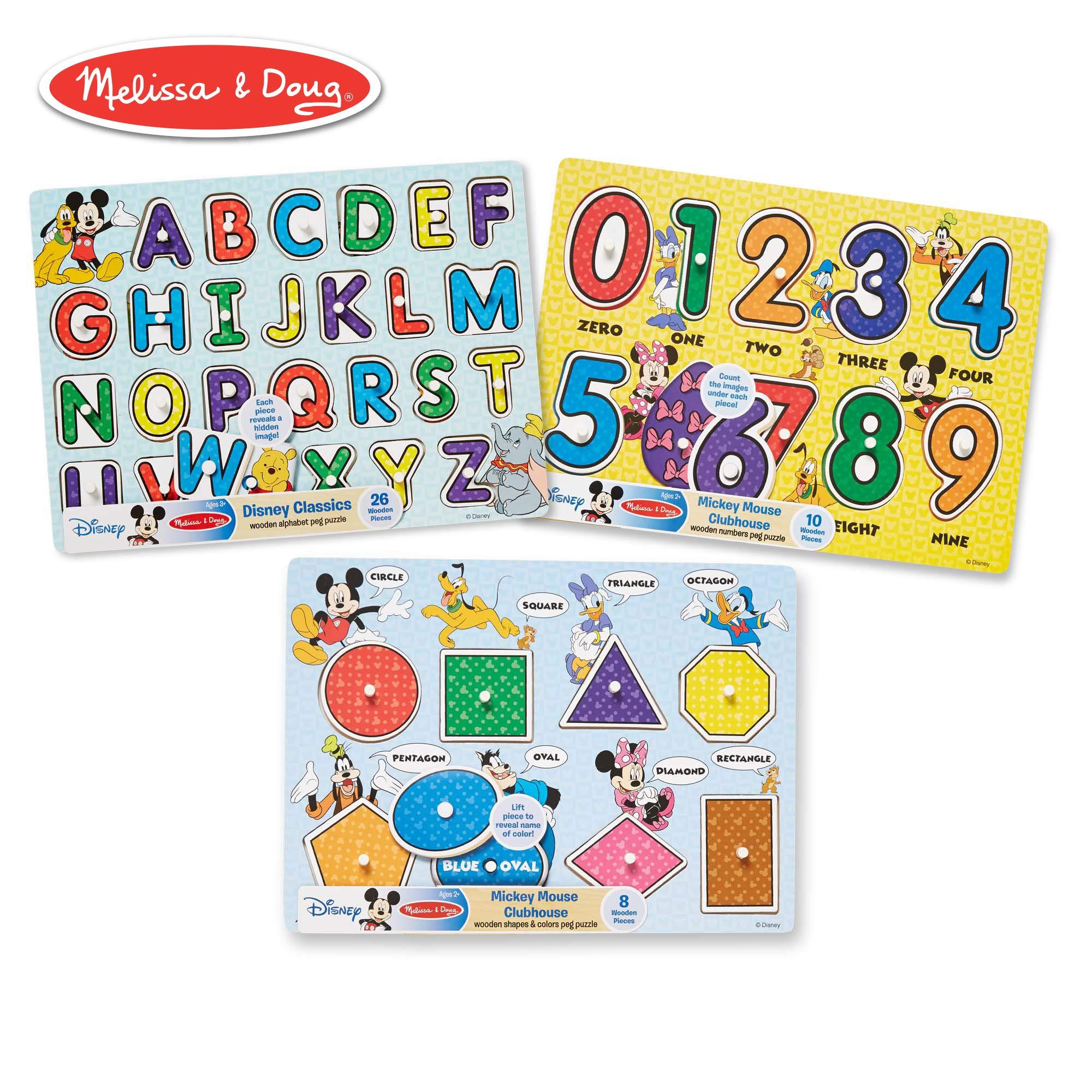 Melissa & Doug Disney Classics Alphabet Wooden Peg Puzzle, Developmental Toys, Sturdy Wooden Construction, 26 Pieces, 0.7'' H x 11.6'' W x 8.5'' L by Melissa & Doug