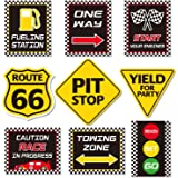 Race Car Party Decorations, Checkered Flags Racing Happy Birthday Party Signs Cutouts Let's Go Racing Party Supplies for…